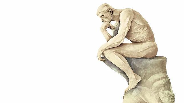 Dibujo de la escultura «El pensador» de Auguste Rodin