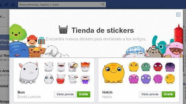 Los «stickers» de Facebook saltan a la web