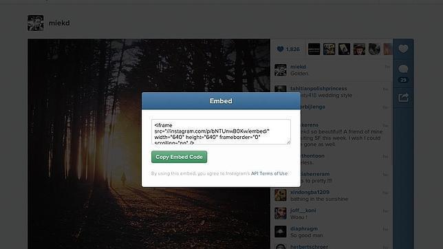 Instagram permite incrustar vídeos y fotos