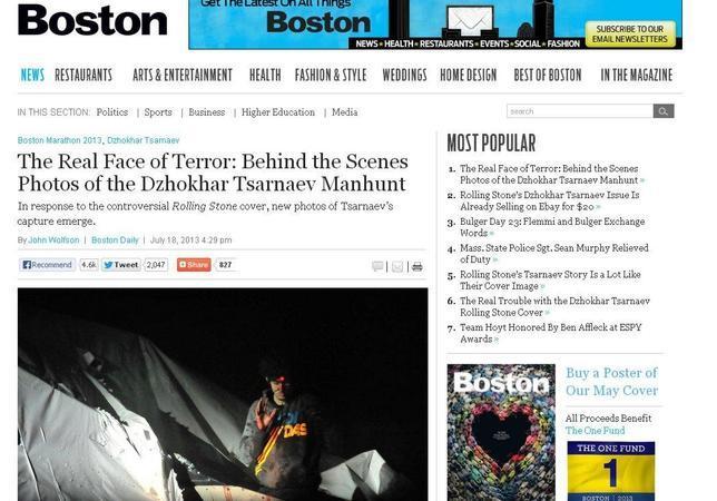 Una revista de Boston publica las imágenes de la captura de Tsarnaev