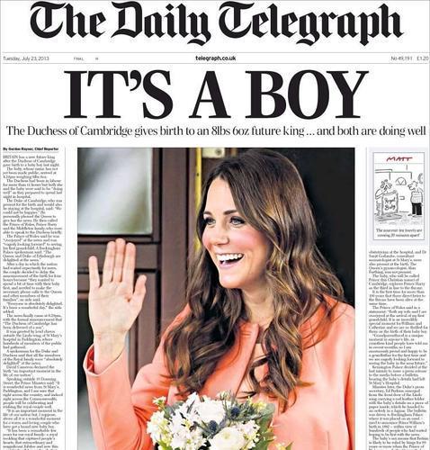 El nacimiento del primer hijo de los Duques de Cambridge, en las portadas