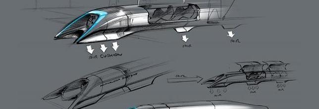 Boceto conceptual de lo que sería el Hyperloop