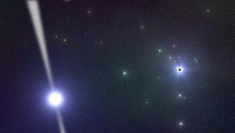 Representación del nuevo púlsar (estrella de neutrones) hallado en el centro de la Vía Láctea por científicos alemanes