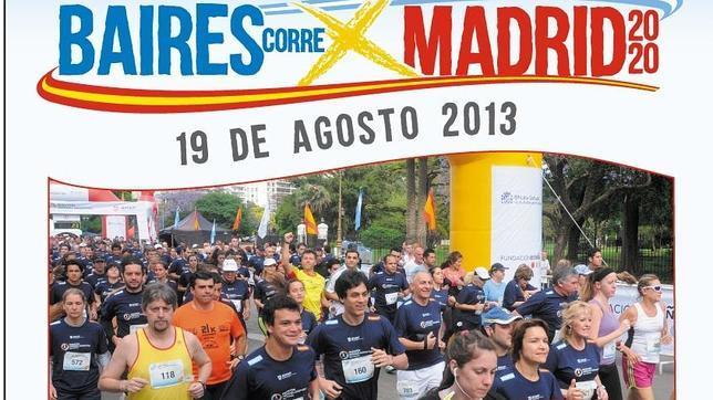 Cartel de la convocatoria de la carrera «Buenos Aires corre por Madrid 2020»