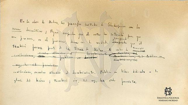 Hallan un manuscrito inédito de Borges con el final alternativo de un cuento