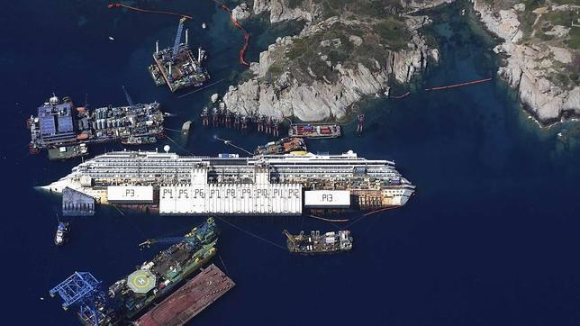 Todo preparado para enderezar el Costa Concordia el próximo lunes