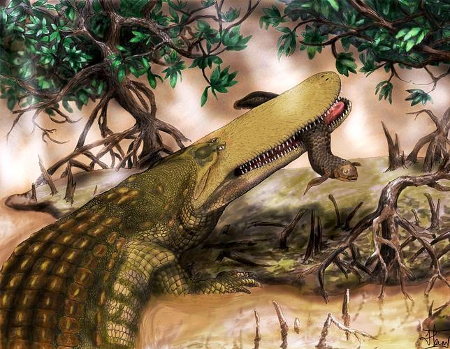 Cuando los cocodrilos luchaban con los dinosaurios
