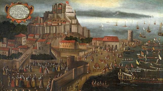 Imagen del lienzo de Vicent Mestre titulado «Embarco Moriscos en el Grao de Denia»