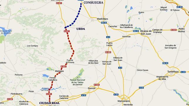En azul el tramo que tendrá que hacer la Junta de Comunidades; en rojo, el tramo que corresponde al Ministerio de Fomento