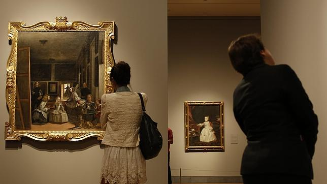 En primer plano, «Las Meninas», de Mazo. Al fondo, «Felipe Próspero», de Velázquez