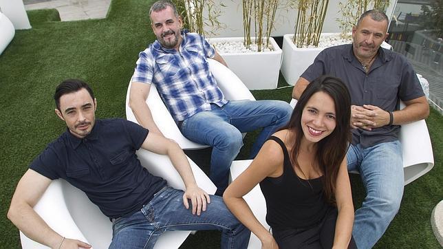 Barroso, Gamero, Salama y Delgado Tocho en la terraza de Gymage (Madrid)