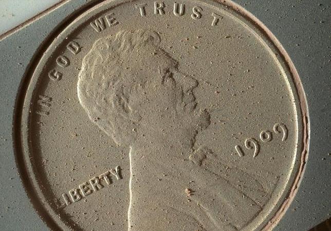 Una moneda fotografiada en Marte