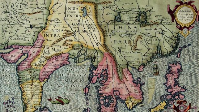 Felipe II estudió la posiblidad de llegar a China (en la imagen, mapa de Asia, 1613)