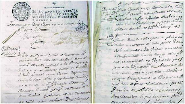 Documento de 1764 donde se ordena que se establezca la Lotería Real en Carmona