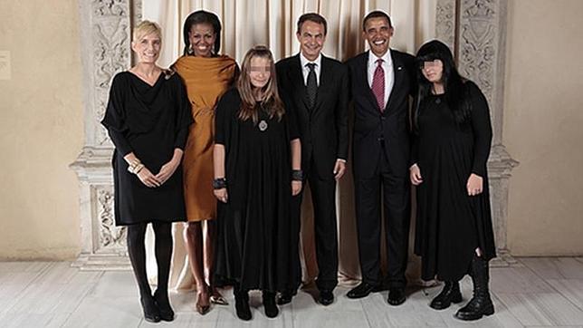Foto del encuentro entre los Obama y la familia de José Luis Rodríguez Zapatero