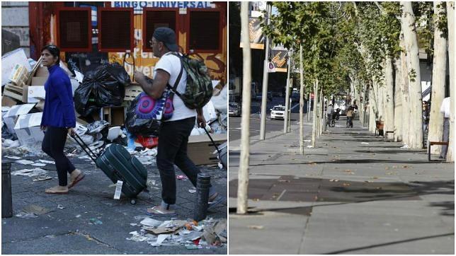 Huelga de limpieza: La Milla de Oro reluce en plena huelga de basura