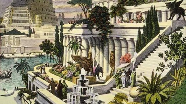 «Los Jardines Colgantes de Babilonia», grabado del siglo XVI del artista holandés Martin Heemskerck
