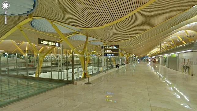 Una de las salas del aeropuerto de Barajas desde el navegador de Google Maps