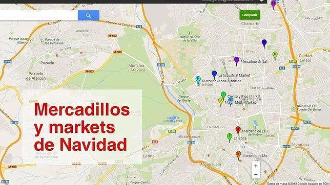Un mapa calendario re ne los mercadillos navide os de madrid for Mercadillos navidenos madrid