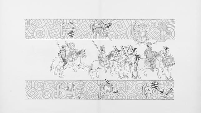 María de Estrada (en la última pareja a caballo), una mujer de las tropas de Cortés