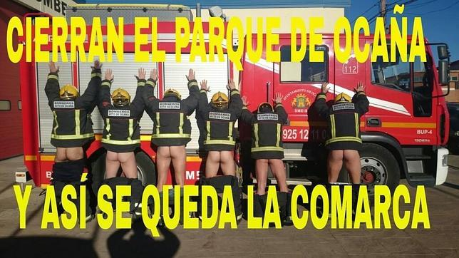 Los bomberos de Ocaña protestan con el culo al aire tras notificarles su despido