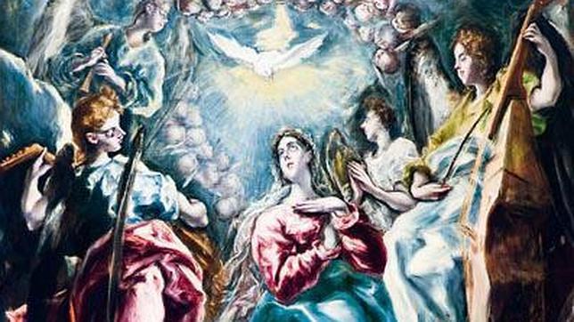 Inmaculada Oballe. Detalle de este cuadro que se exhibe en el Museo de Santa Cruz de Toledo y que está lleno de instrumentos y música
