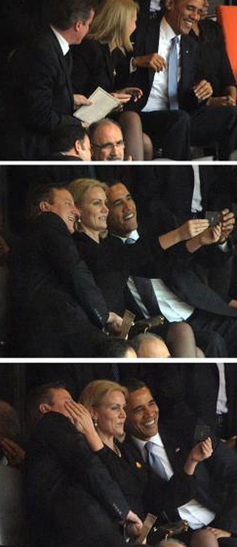 David Cameron se defiende tras su «selfie» durante el funeral de Mandela: «Solo pretendía ser educado»