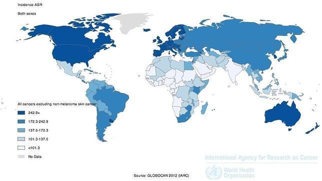 Mapa de la incidencia de cáncer en el mundo