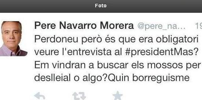 Captura de pantalla del tuit publicado en la cuenta de Pere Navarro