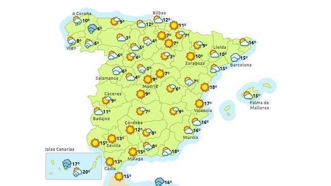 Mapa de la previsi n del tiempo del 28 de diciembre de - El tiempo en sevilla la nueva ...