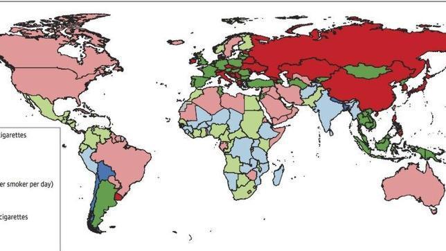 Consumo de tabaco en el mundo. En verde España, con un consumo de entre 10 y 20 cigarrillos por fumador al día