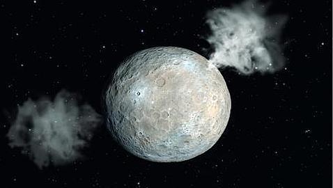 Recreación artística del vapor de agua expulsado por Ceres