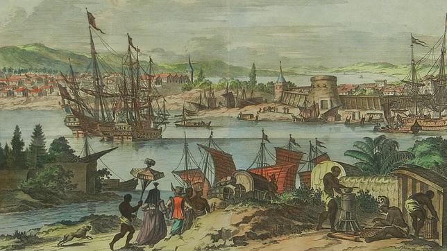 Imagen de John Ogilby que representa la Florida en 1671