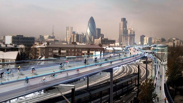 Norman Foster diseña una «utopía ciclista» sobre las vías férreas de Londres