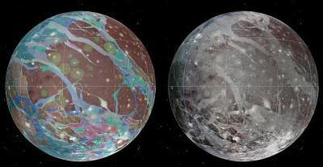 El mapa global de Ganímedes, luna de Júpiter