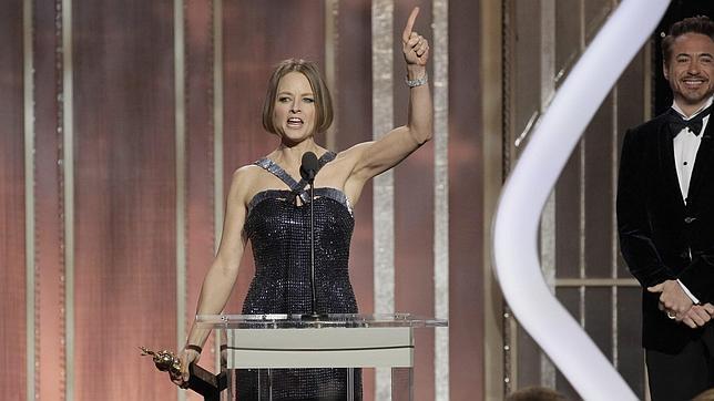 Jodie Foster durante el discurso en el que habló sobre su homosexualidad