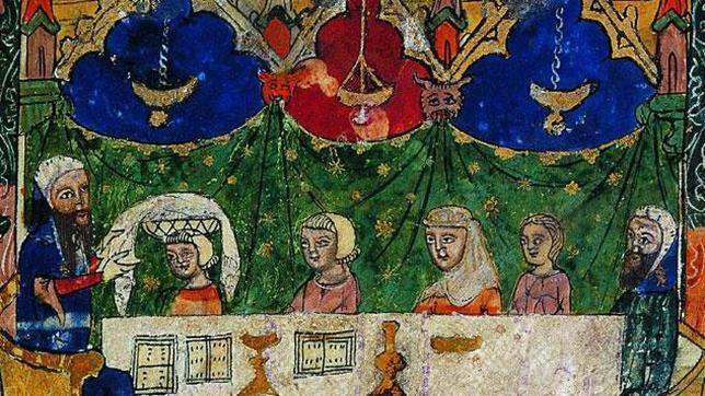 Miniatura medieval procedente de Barcelona y conservada en la British Library de Londres que refleja la celebración de un rito judío