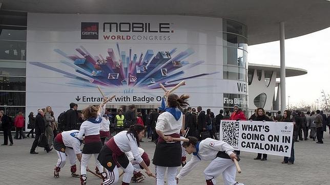 Campaña de Òmnium llevada a cabo en la anterior edición del Mobile Congress
