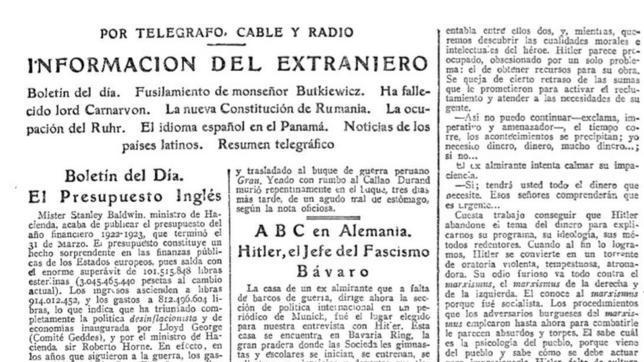 Extracto del ABC del 6 de abril de 1923