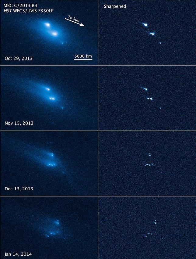 El Hubble capta cómo un asteroide se parte en diez pedazos