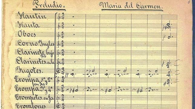 Partitura original de la ópera «María del Carmen» de Granados
