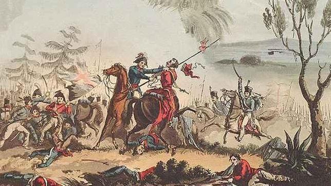Cuadro de 1831 que representa a un oficial inglés combatiendo contra un jinete galo