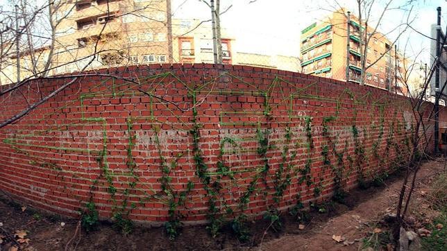 Una estructura de hilos sustenta una serie de enredaderas que trepan por la pared