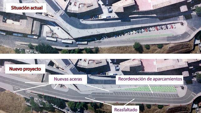 Recreación del Ayuntamiento de Toledo de cómo está la calle en la actualidad y cómo quedará