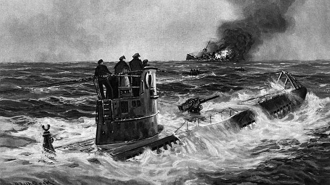 Representación de un «U-Boot» en combate