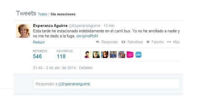Comunicado de Aguirre tras su incidente de tráfico: «No arrollé a nadie ni me di a la fuga»