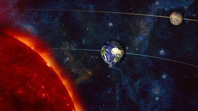 Marte, la Tierra y el Sol se alinean esta noche