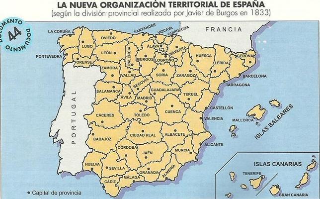 Las 49 provincias de Javier de Burgos que acabaron con el «caos» español
