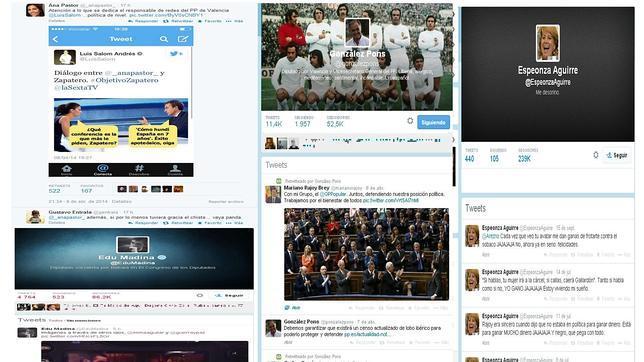 Varias imágenes de perfiles de políticos en Twitter