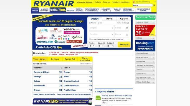 Captura de la página web de Ryanair en el año 2013